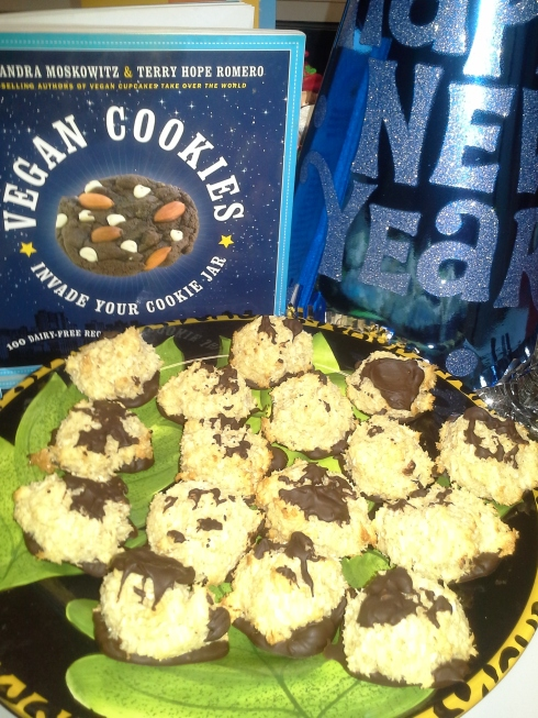 Happy New Year!  The BEST Vegan Chocolate Dipped Coconut Macaroons requested by a pretty cool 13 year old