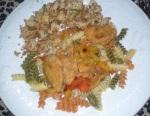 Tryitvegan dinner Gardein mandarin orange chicken with delish cauliflower garlic lemon bread crumb style copy