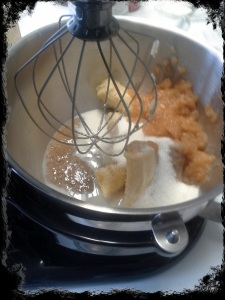 Mix Flax (Egg-less) mixture, sugar, applesauce, milk and bananas