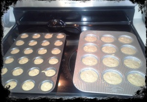 Bake at 350 degrees 13-15 minutes for mini muffins and 17-20 minutes for regular muffins