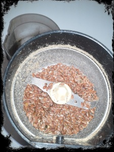 Pour Flax Seeds in Coffee Grinder or High Powered Blender