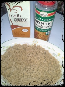 Mix bread crumbs with melted vegan butter